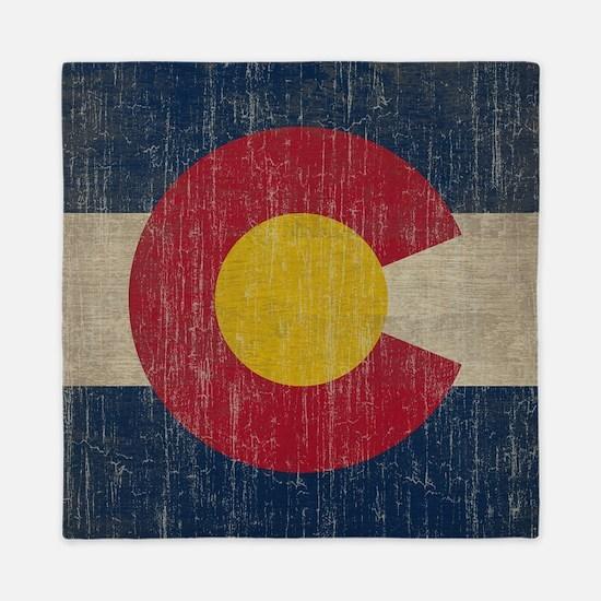 Vintage Colorado Flag Queen Duvet