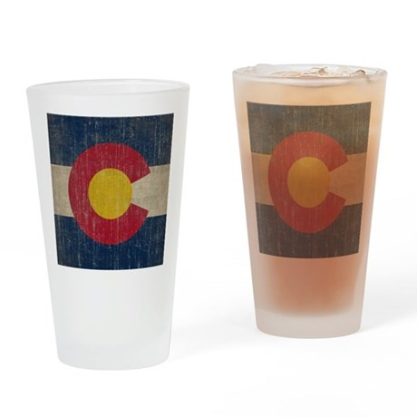 Vintage Colorado Flag Drinking Glass