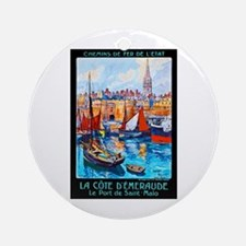 France Travel Poster 4 Ornament (Round)