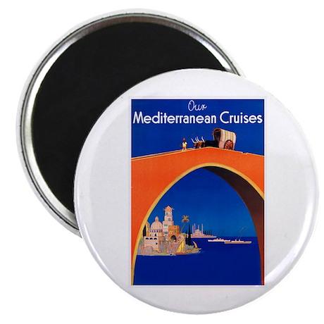 "Mediterranean Travel Poster 1 2.25"" Magnet (10 pac"