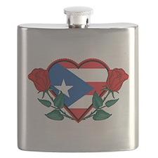 Heart Puerto Rico Flask