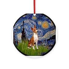 Starry Night - Basenji Ornament (Round)