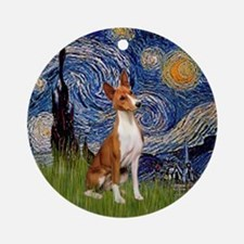 Starry Night - Basenji Ornament (Round)