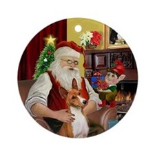 Santa & his Basenji Ornament (Round)