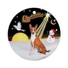 NightFlight-Basenji Ornament (Round)