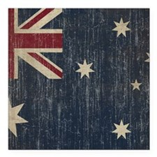 "Vintage Australia Flag Square Car Magnet 3"" x 3"""
