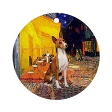 Terrace Cafe with a Basenji Ornament (Round)