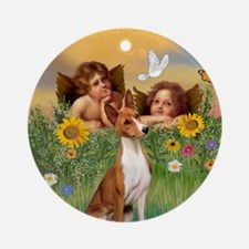 Cherubs with a Basenji Ornament (Round)