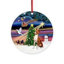 XmasMagic-Basenji Ornament (Round)