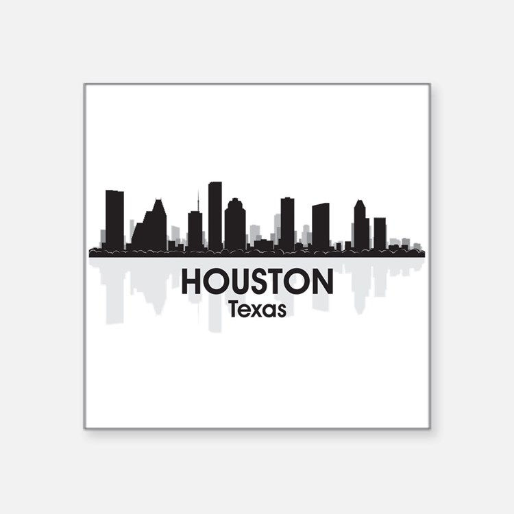 "Houston Skyline Square Sticker 3"" x 3"""