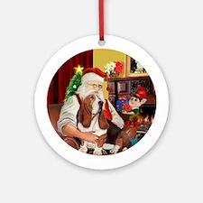 Santa and his Basset Hound Ornament (Round)