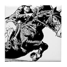 AFTM BW Jumping Horse Tile Coaster