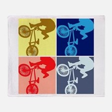 BMX Bike Rider/Pop Art Throw Blanket