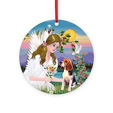 Angel loving a Beagle Ornament (Round)