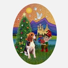 XmasFantasy an Beagle Ornament (Oval)