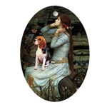 Ophelia & Beagle Ornament (Oval)