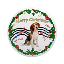 Xmas Music Wreath (W) - Beagle Ornament (Round)