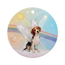 Beagle Angel in Clouds Ornament (Round)