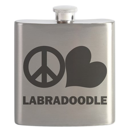 Peace Love Labradoodle Flask