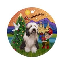 XmasFantasy-BeardedCollie (#1) Ornament (Round)