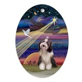 Christmas decorations bearded collie Oval Ornaments