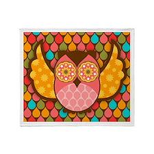 Owl Boheme Pink Throw Blanket