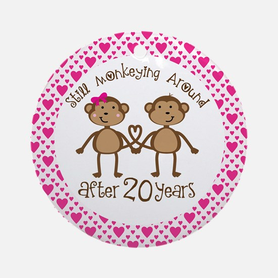 20th Anniversary Love Monkeys Ornament (Round)