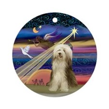 XmasAngel-Bearded Collie (#10) - Ornament (Round)