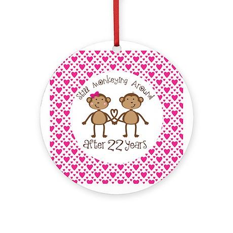 22nd Anniversary Love Monkeys Ornament (Round)