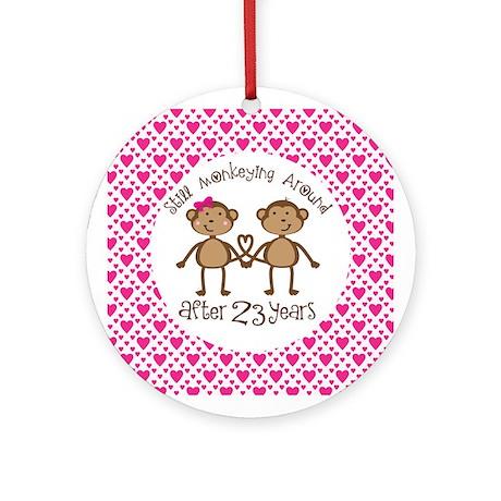 23rd Anniversary Love Monkeys Ornament (Round)