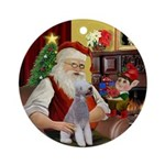 Santa and his Bedlington Terrier Ornament (Round)