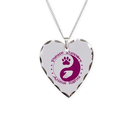 Please Support Animal Rights Necklace Heart Charm