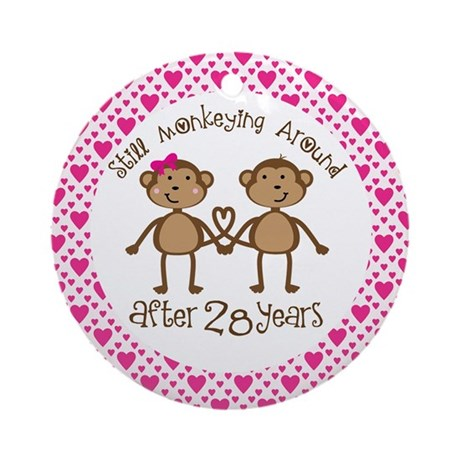 28th Anniversary Love Monkeys Ornament (Round)