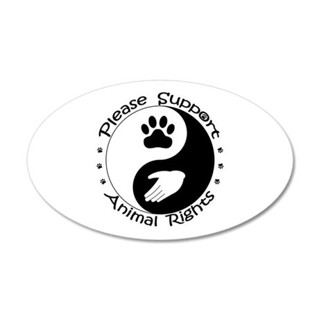 Please Support Animal Rights 35x21 Oval Wall Decal