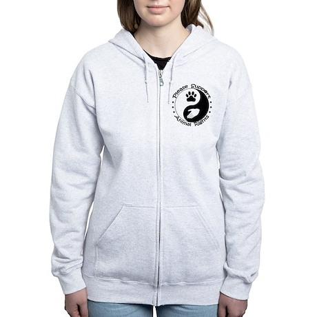 Please Support Animal Rights Women's Zip Hoodie