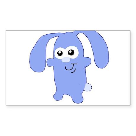 Cute Blue Bunny Sticker (Rectangle)