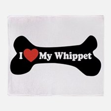 I Love My Whippet - Dog Bone Throw Blanket