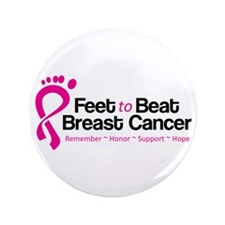 """Feet to Beat Breast Cancer 3.5"""" Button"""