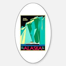 Alaska Travel Poster 4 Sticker (Oval)