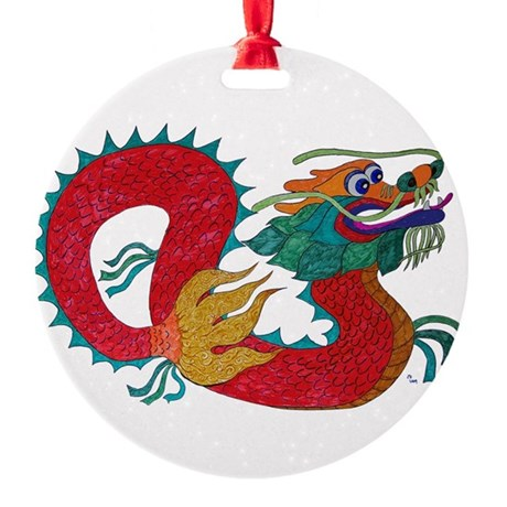 dragon1c.png Round Ornament