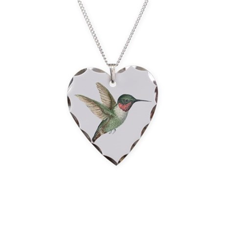 Hummingbird Necklace Heart Charm