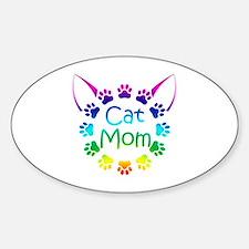 """Cat Mom"" Sticker (Oval)"
