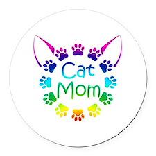 """""""Cat Mom"""" Round Car Magnet"""