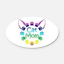 """Cat Mom"" Oval Car Magnet"