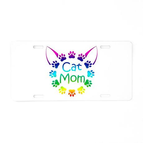 """""""Cat Mom"""" Aluminum License Plate"""