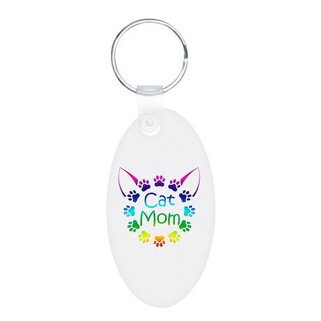 """""""Cat Mom"""" Aluminum Oval Keychain"""