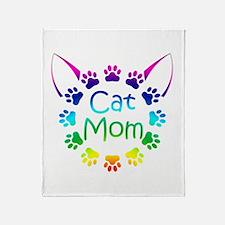 """Cat Mom"" Throw Blanket"