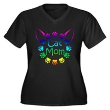 """Cat Mom"" Women's Plus Size V-Neck Dark T-Shirt"