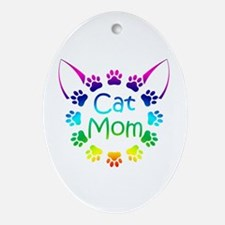 """""""Cat Mom"""" Ornament (Oval)"""