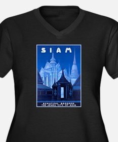 Siam Travel Poster 1 Women's Plus Size V-Neck Dark